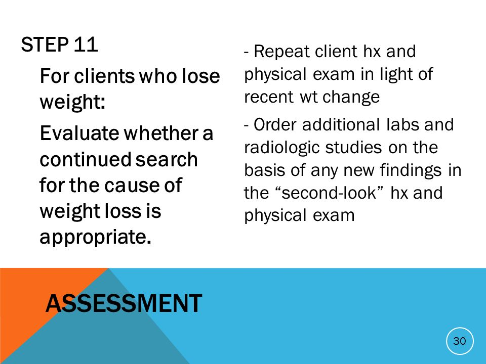 STEP 11 For clients who lose weight: Evaluate whether a continued search for the cause of weight loss is appropriate.