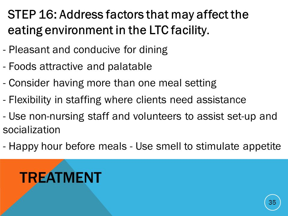 STEP 16: Address factors that may affect the eating environment in the LTC facility. - Pleasant and conducive for dining - Foods attractive and palata