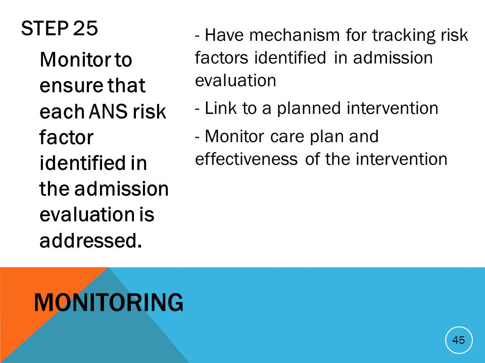 STEP 25 Monitor to ensure that each ANS risk factor identified in the admission evaluation is addressed. - Have mechanism for tracking risk factors id