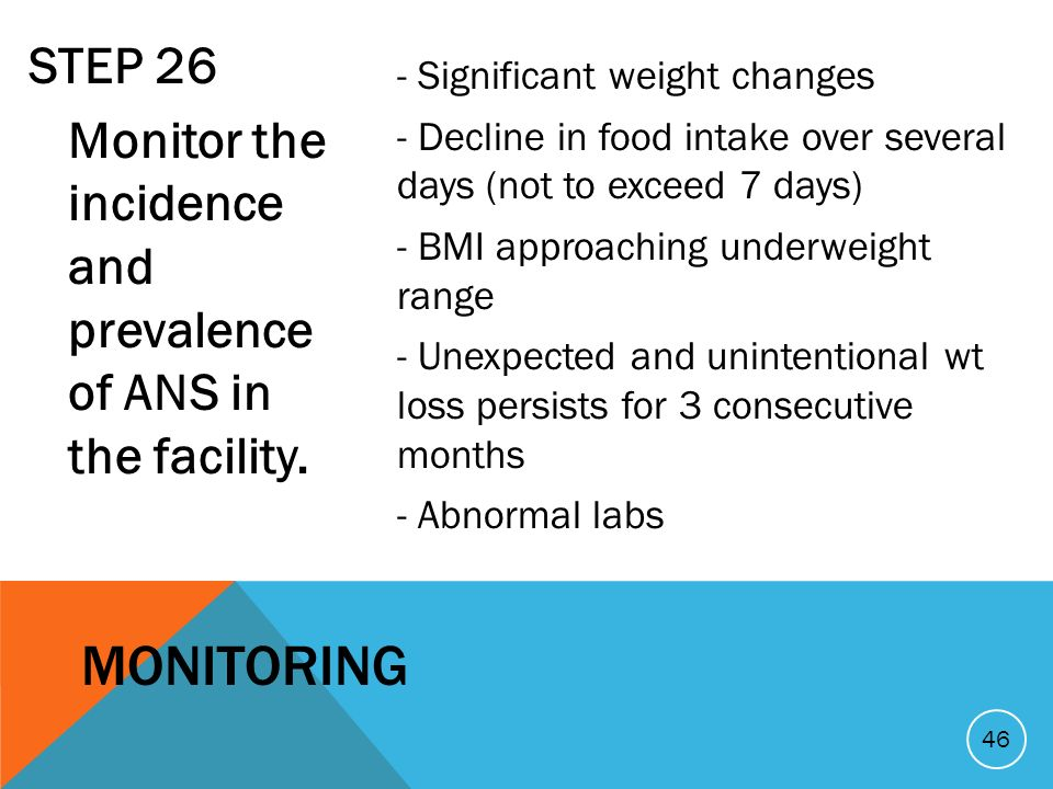 STEP 26 Monitor the incidence and prevalence of ANS in the facility. - Significant weight changes - Decline in food intake over several days (not to e