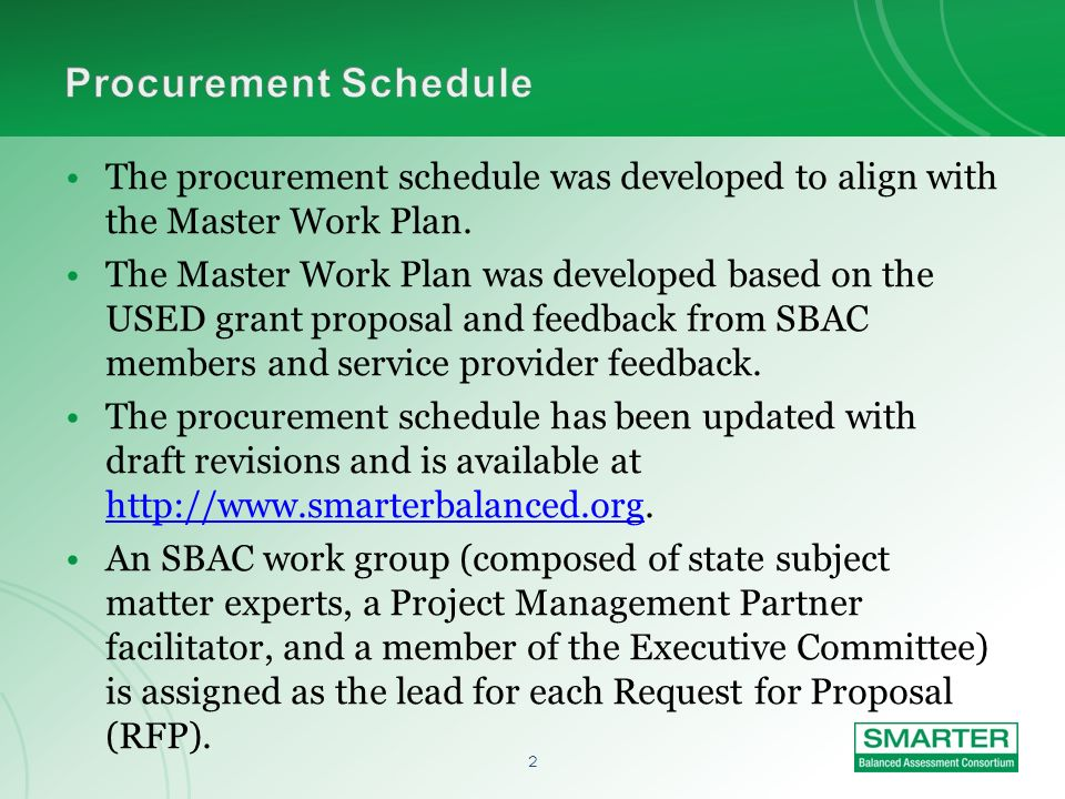 1 TopicTime Introductions and Review Agenda1:00–1:10 Overview of SBACs Procurement Process1:10–1:30 Advice from SBAC Work Groups1:30–2:00 Questions and Answers2:00–2:30