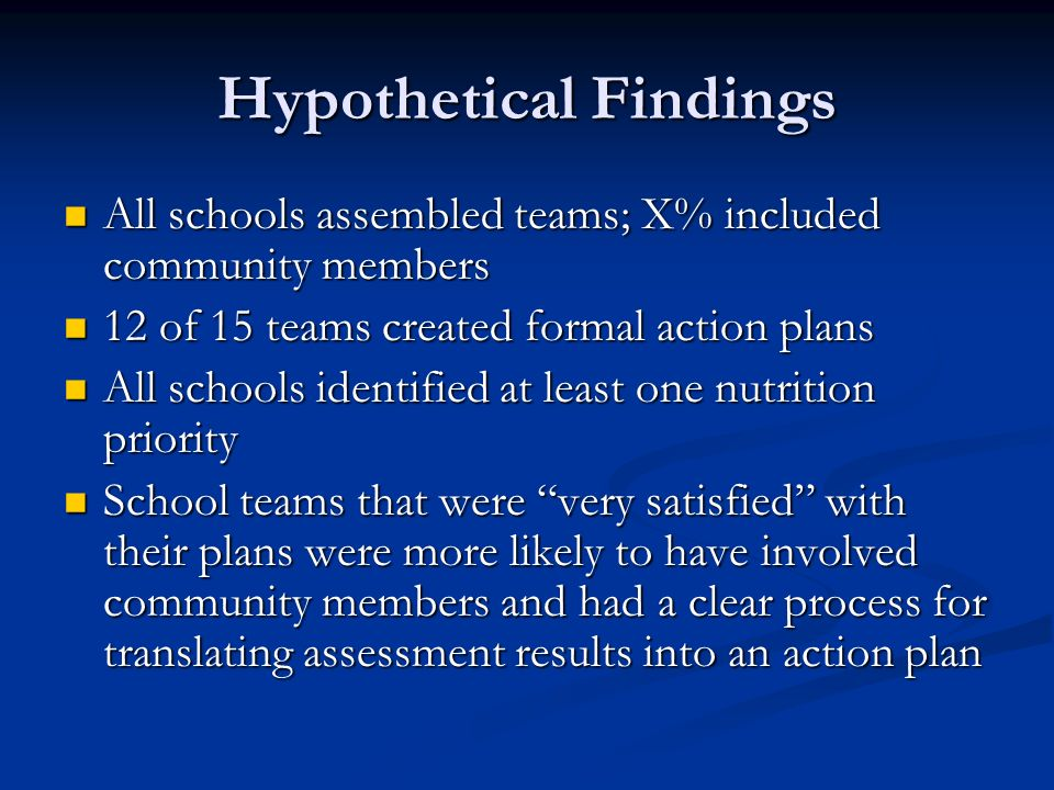 Hypothetical Findings All schools assembled teams; X% included community members All schools assembled teams; X% included community members 12 of 15 t