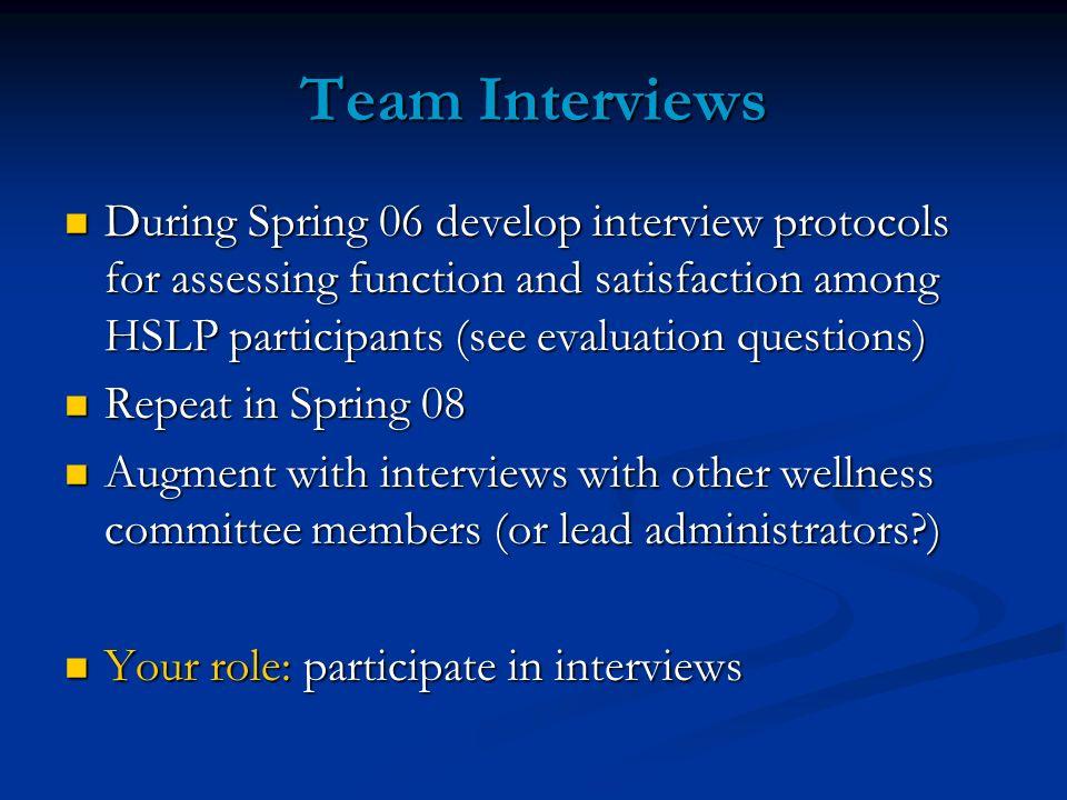 Team Interviews During Spring 06 develop interview protocols for assessing function and satisfaction among HSLP participants (see evaluation questions