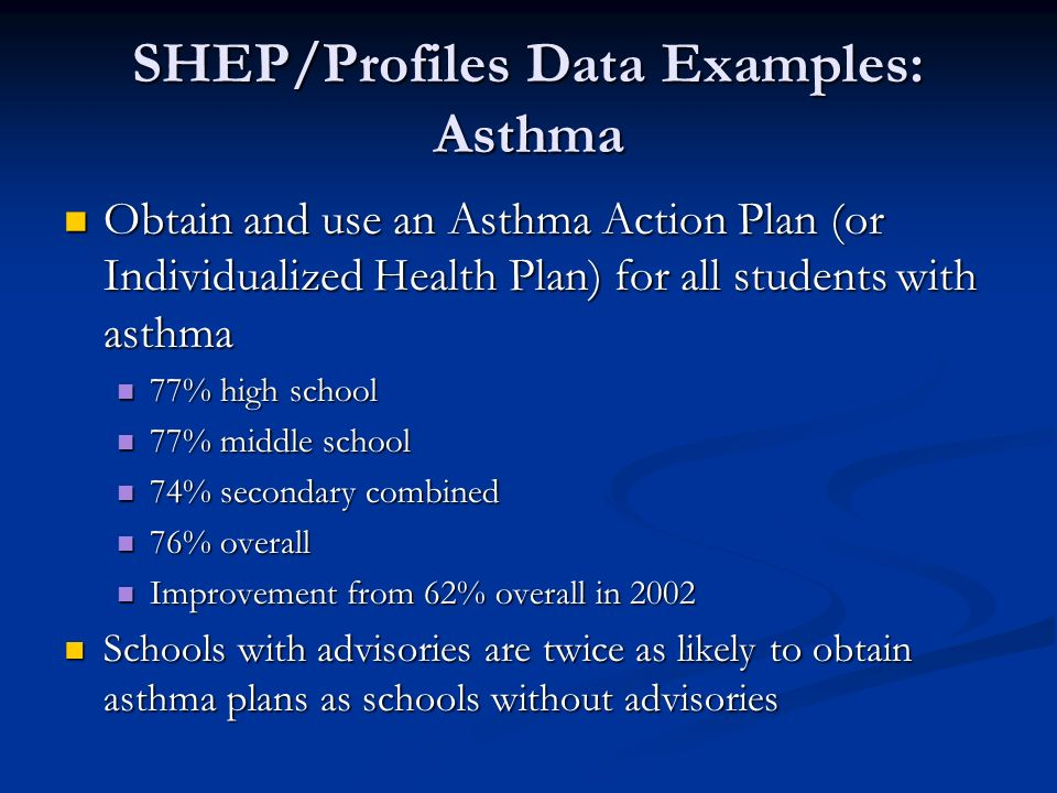 SHEP/Profiles Data Examples: Asthma Obtain and use an Asthma Action Plan (or Individualized Health Plan) for all students with asthma Obtain and use a