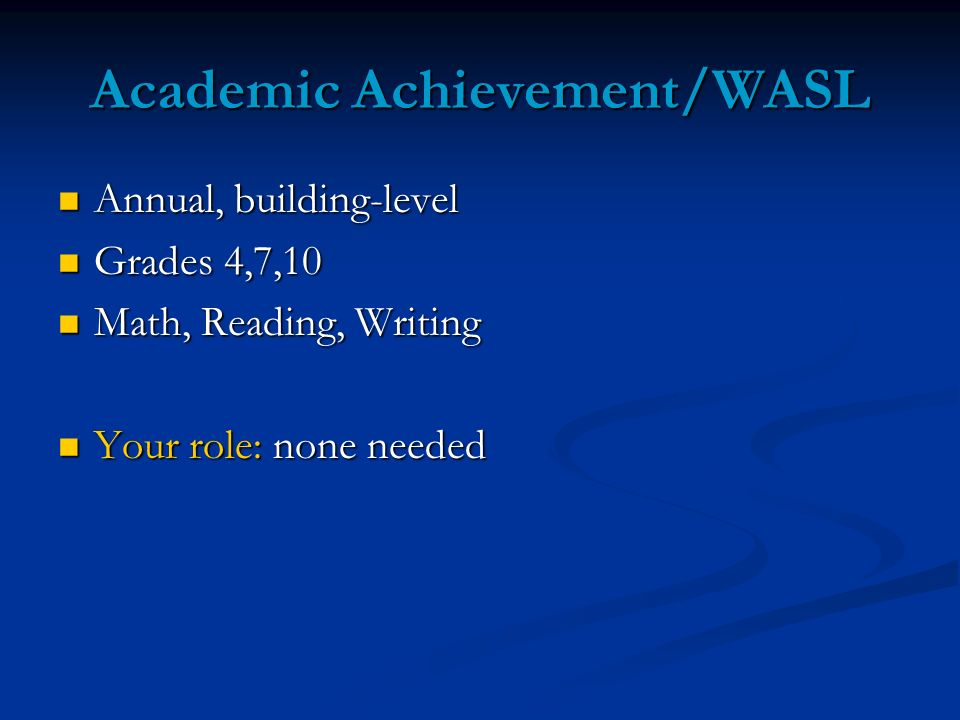 Academic Achievement/WASL Annual, building-level Annual, building-level Grades 4,7,10 Grades 4,7,10 Math, Reading, Writing Math, Reading, Writing Your role: none needed Your role: none needed
