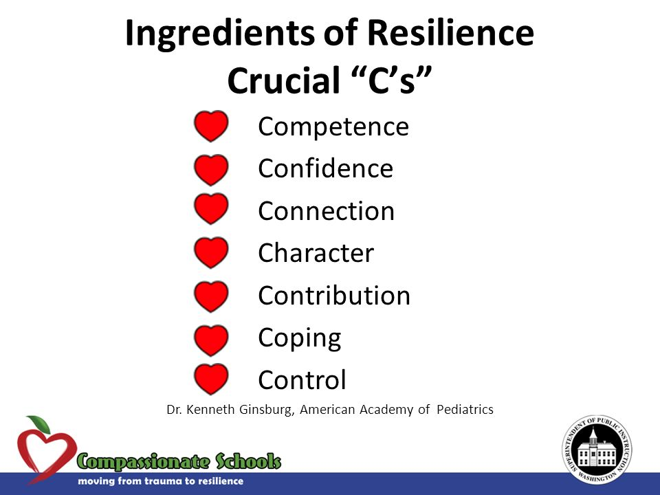 Competence Confidence Connection Character Contribution Coping Control Dr. Kenneth Ginsburg, American Academy of Pediatrics Ingredients of Resilience