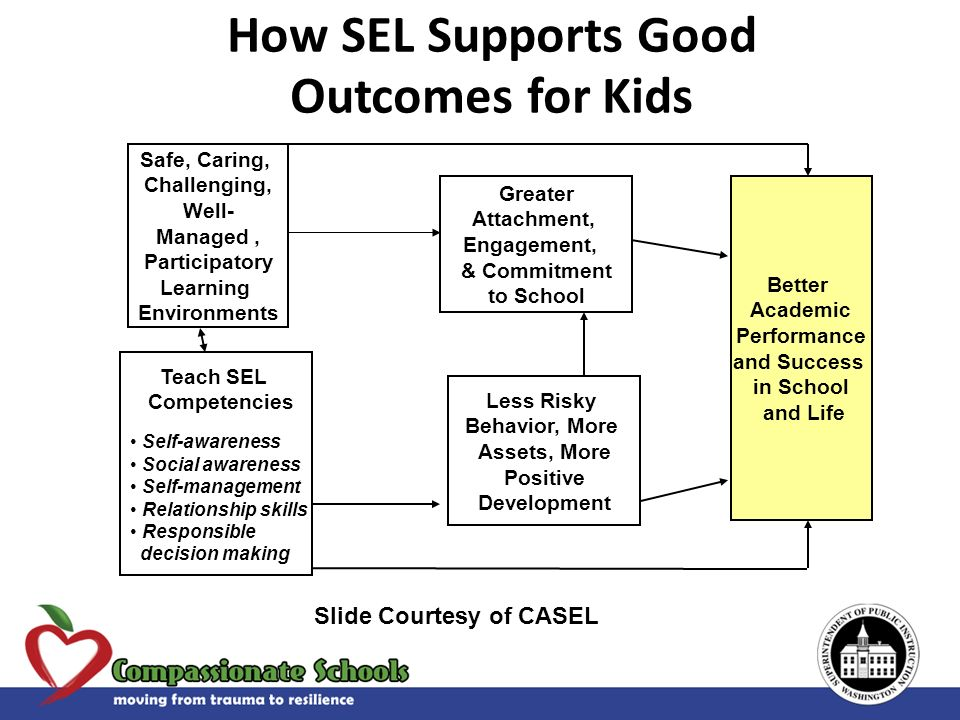 Teach SEL Competencies Self-awareness Social awareness Self-management Relationship skills Responsible decision making Greater Attachment, Engagement,