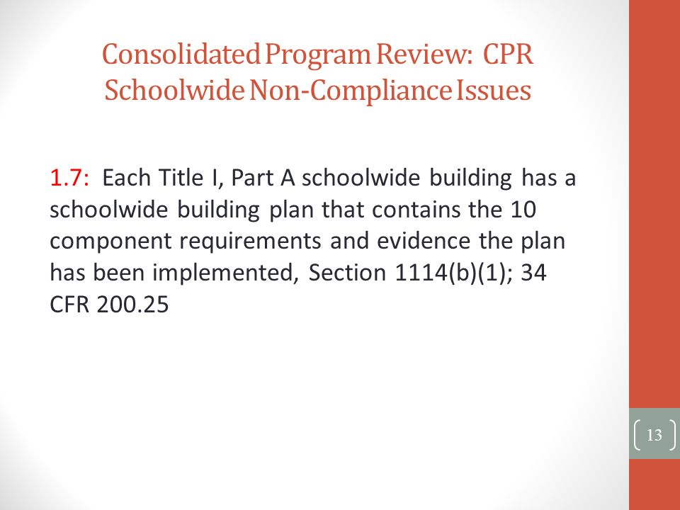 Consolidated Program Review: CPR Schoolwide Non-Compliance Issues 1.7: Each Title I, Part A schoolwide building has a schoolwide building plan that co