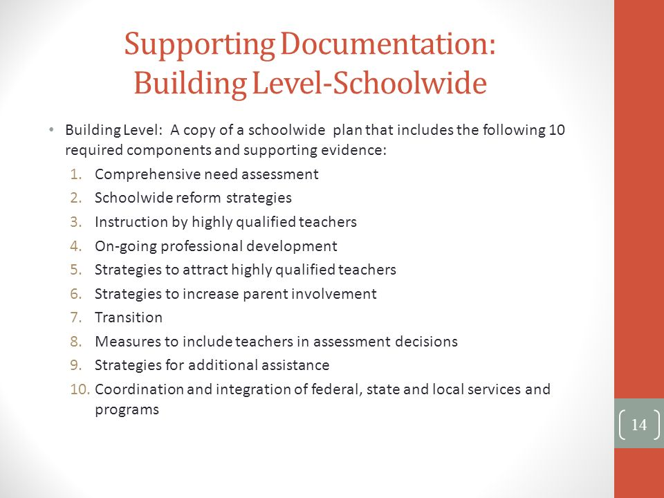 Supporting Documentation: Building Level-Schoolwide Building Level: A copy of a schoolwide plan that includes the following 10 required components and