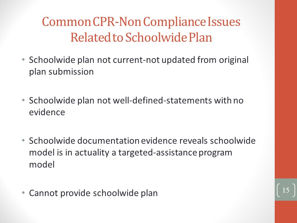 Common CPR-Non Compliance Issues Related to Schoolwide Plan Schoolwide plan not current-not updated from original plan submission Schoolwide plan not