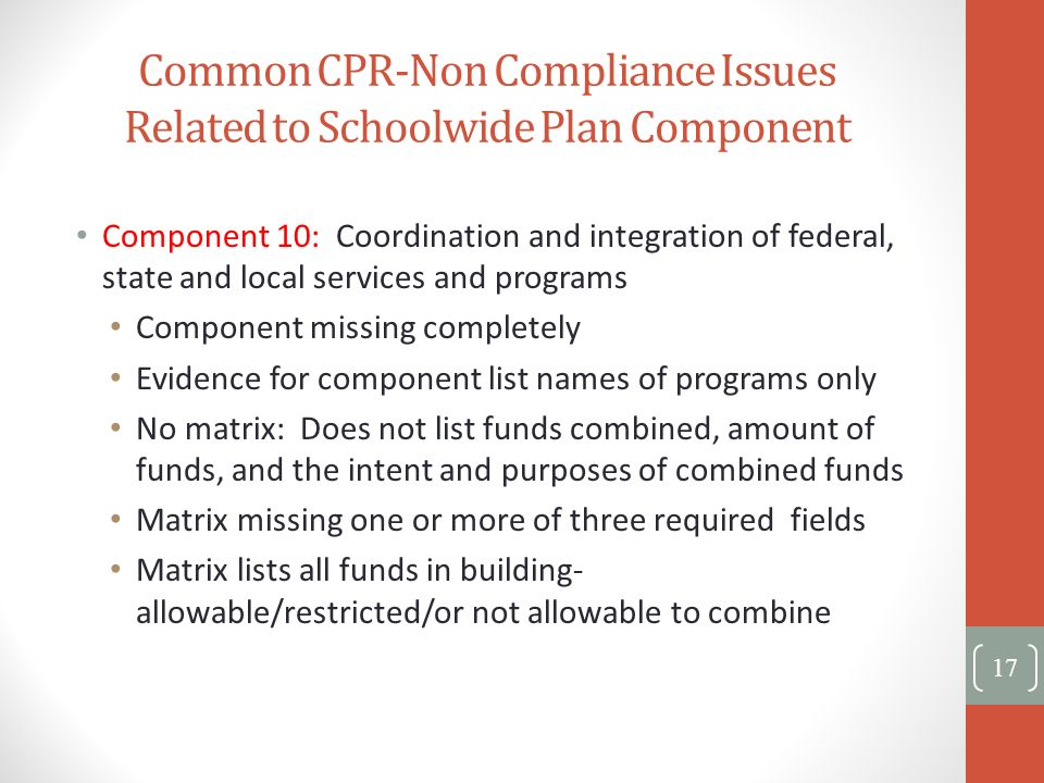 Common CPR-Non Compliance Issues Related to Schoolwide Plan Component Component 10: Coordination and integration of federal, state and local services
