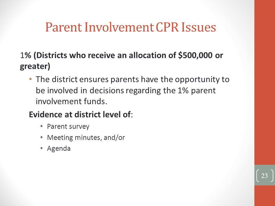 Parent Involvement CPR Issues 1% (Districts who receive an allocation of $500,000 or greater) The district ensures parents have the opportunity to be