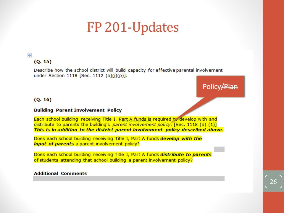 FP 201-Updates 26 Policy/Plan