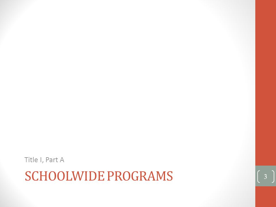 SCHOOLWIDE PROGRAMS Title I, Part A 3