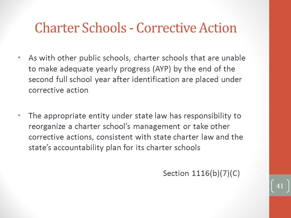 Charter Schools - Corrective Action 41 As with other public schools, charter schools that are unable to make adequate yearly progress (AYP) by the end