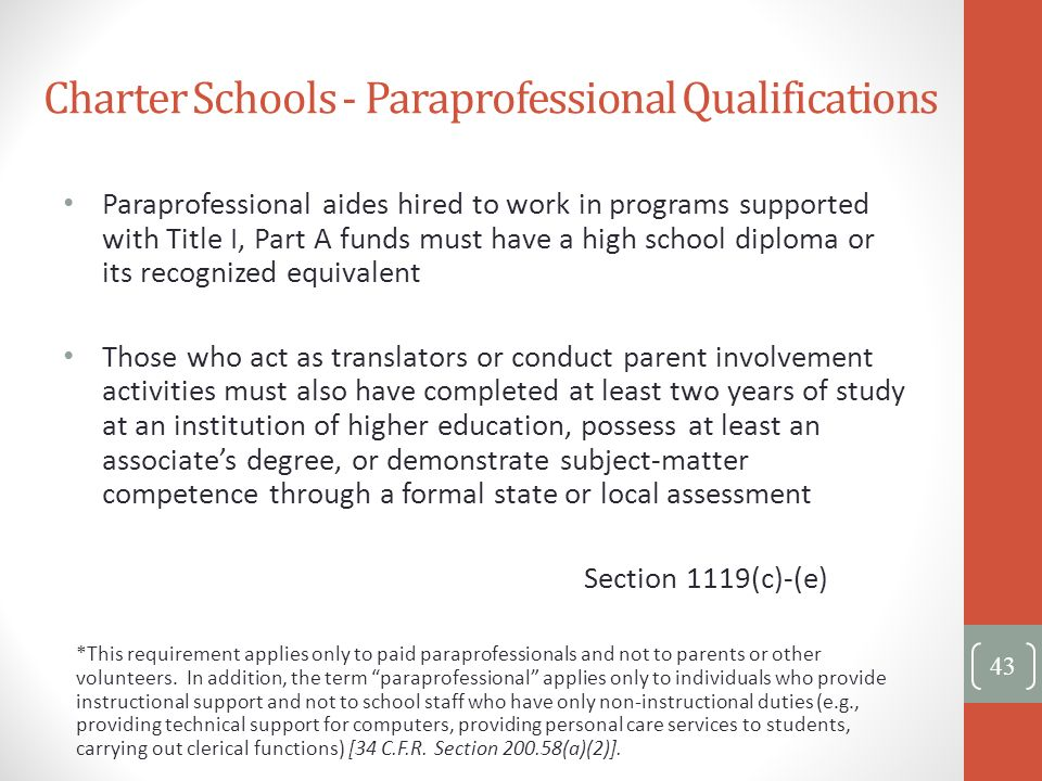 Charter Schools - Paraprofessional Qualifications 43 Paraprofessional aides hired to work in programs supported with Title I, Part A funds must have a