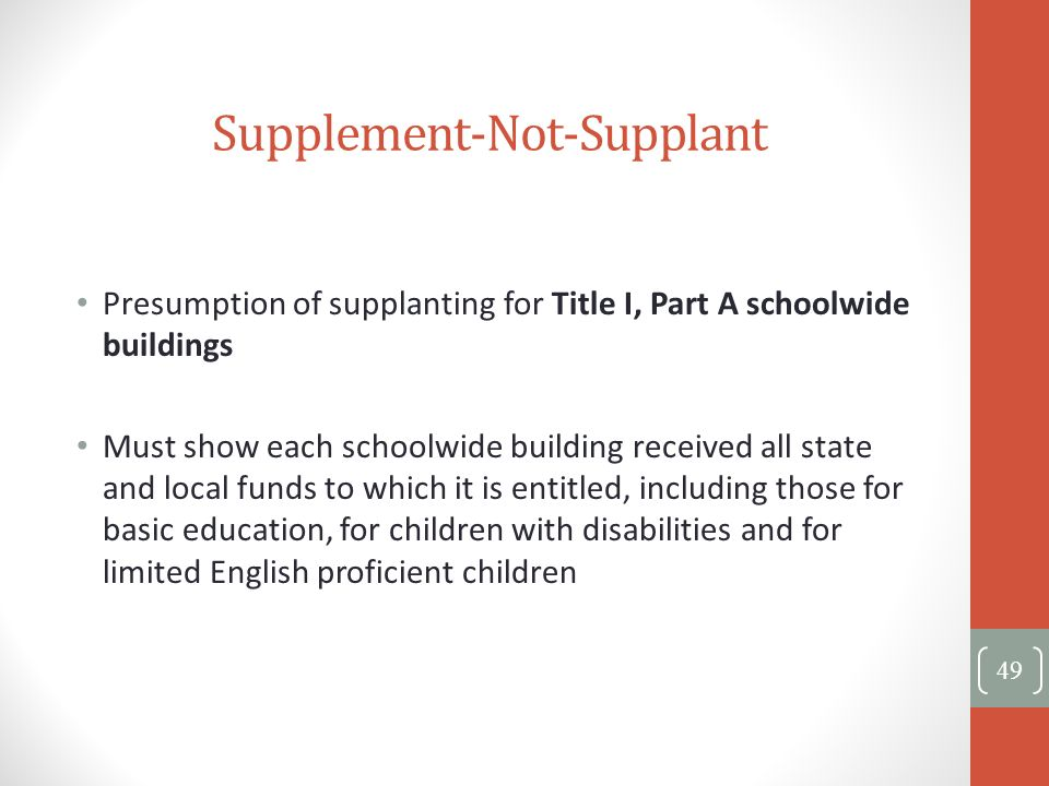 Presumption of supplanting for Title I, Part A schoolwide buildings Must show each schoolwide building received all state and local funds to which it