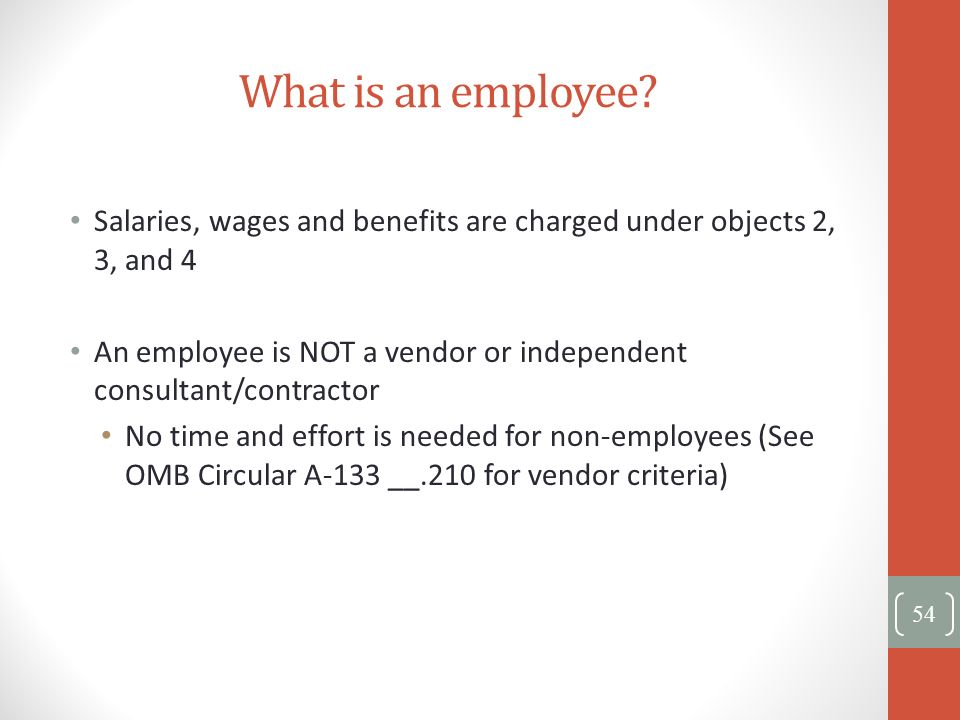 What is an employee? Salaries, wages and benefits are charged under objects 2, 3, and 4 An employee is NOT a vendor or independent consultant/contract