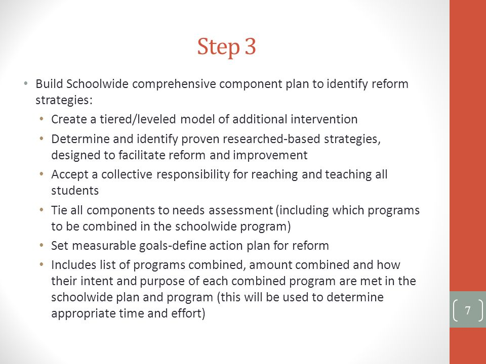 Step 3 Build Schoolwide comprehensive component plan to identify reform strategies: Create a tiered/leveled model of additional intervention Determine