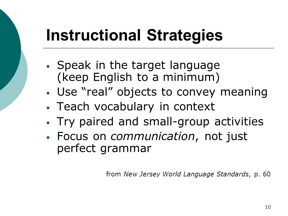 10 Instructional Strategies Speak in the target language (keep English to a minimum) Use real objects to convey meaning Teach vocabulary in context Try paired and small-group activities Focus on communication, not just perfect grammar from New Jersey World Language Standards, p.