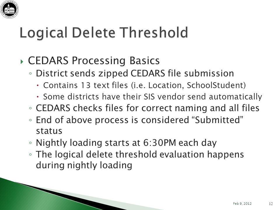 CEDARS Processing Basics District sends zipped CEDARS file submission Contains 13 text files (i.e.