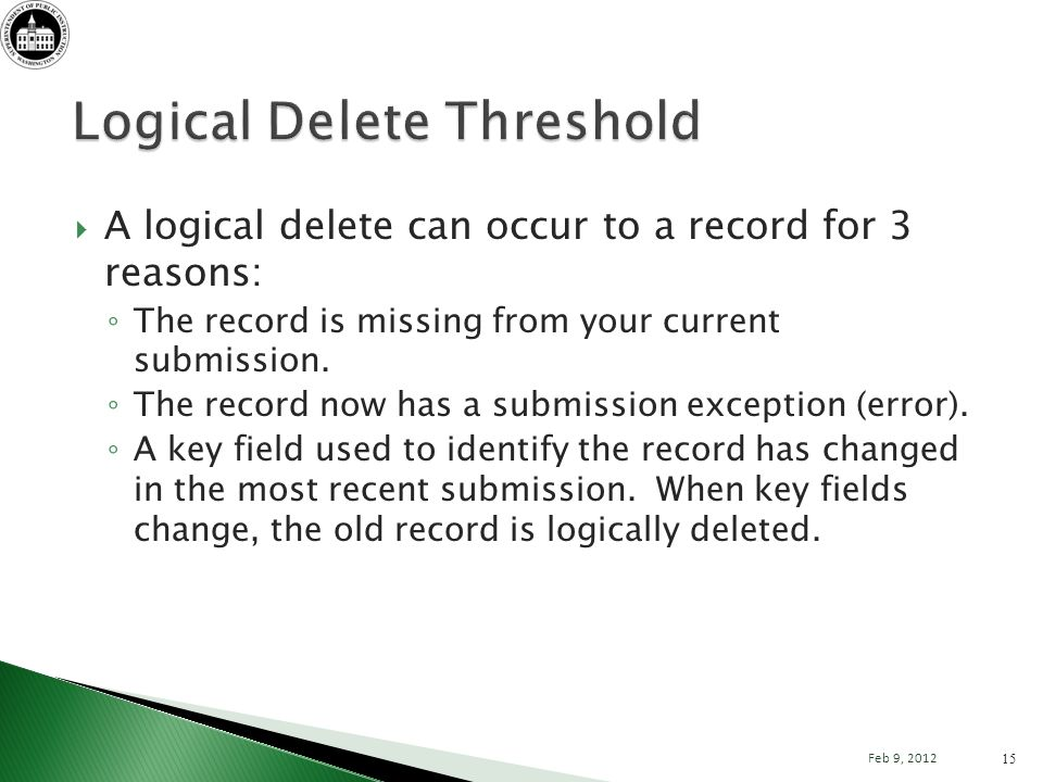 A logical delete can occur to a record for 3 reasons: The record is missing from your current submission.