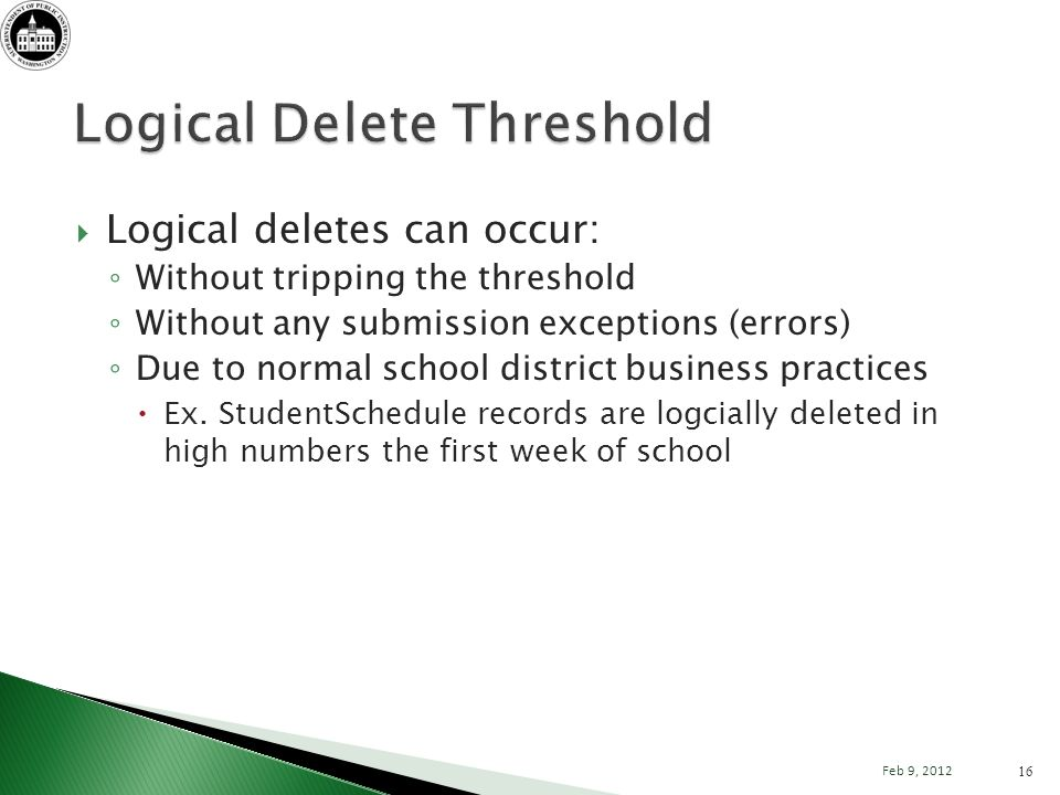 Logical deletes can occur: Without tripping the threshold Without any submission exceptions (errors) Due to normal school district business practices Ex.