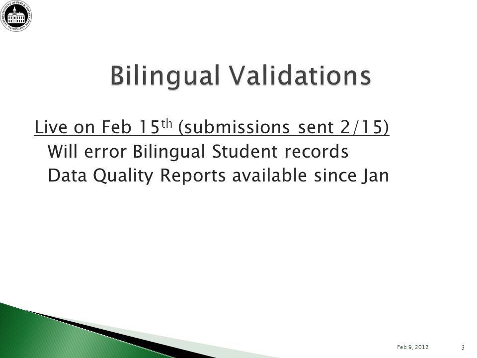 Live on Feb 15 th (submissions sent 2/15) Will error Bilingual Student records Data Quality Reports available since Jan 3 Feb 9, 2012