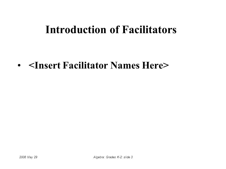 2008 May 29Algebra: Grades K-2: slide 3 Introduction of Facilitators