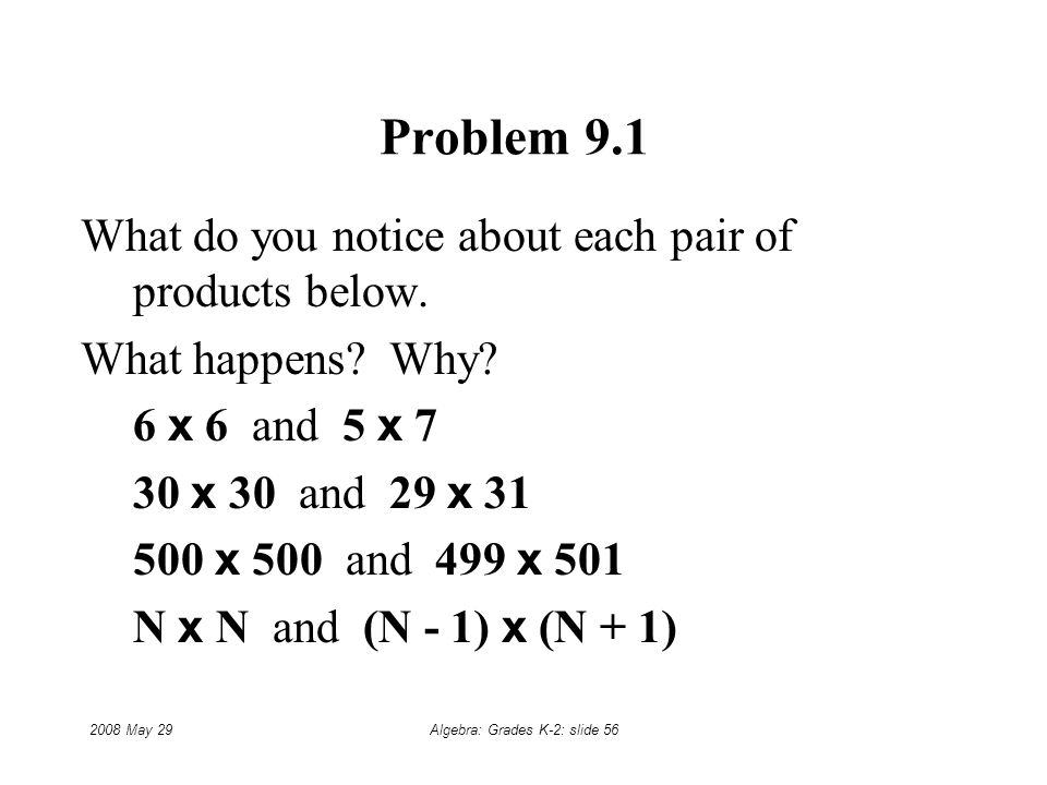 2008 May 29Algebra: Grades K-2: slide 56 Problem 9.1 What do you notice about each pair of products below.