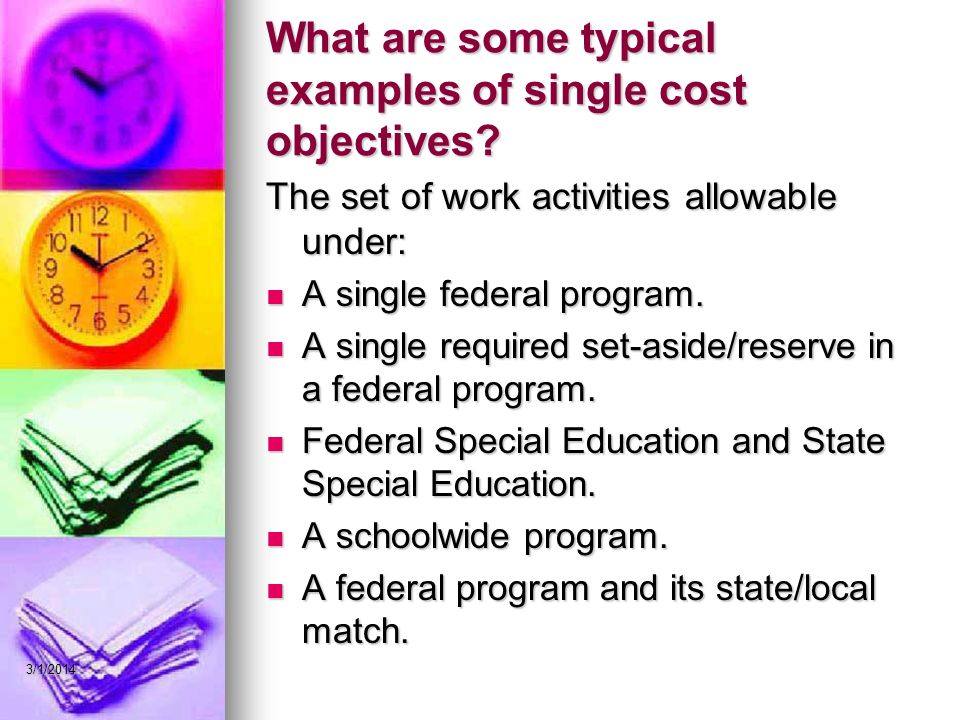 What are some typical examples of single cost objectives.