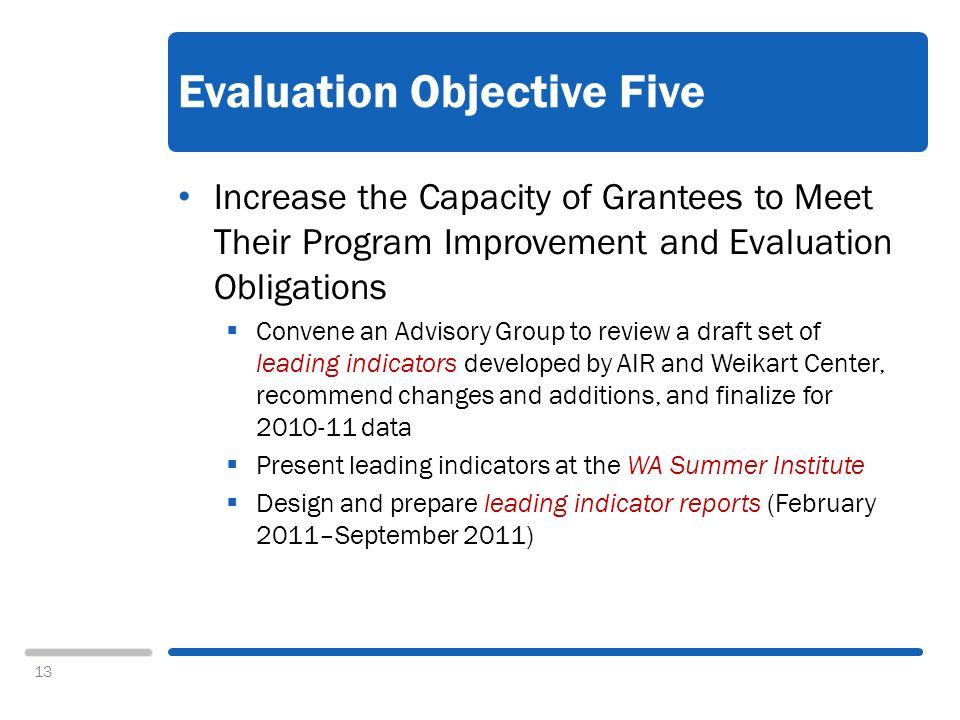 13 Evaluation Objective Five Increase the Capacity of Grantees to Meet Their Program Improvement and Evaluation Obligations Convene an Advisory Group to review a draft set of leading indicators developed by AIR and Weikart Center, recommend changes and additions, and finalize for 2010-11 data Present leading indicators at the WA Summer Institute Design and prepare leading indicator reports (February 2011–September 2011)