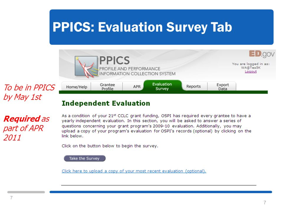 7 PPICS: Evaluation Survey Tab 7 To be in PPICS by May 1st Required as part of APR 2011