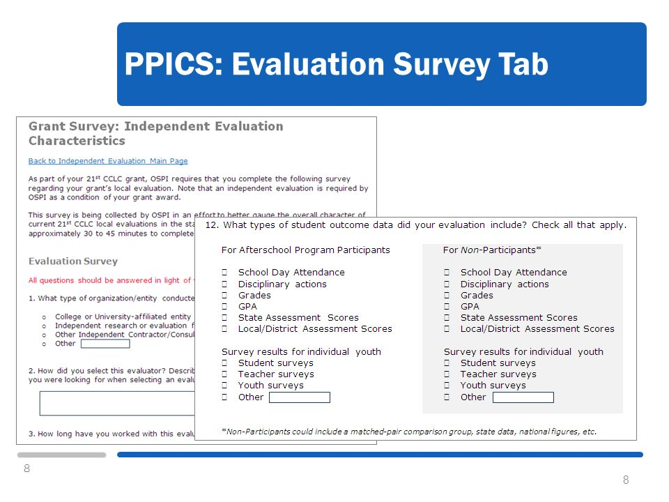 8 PPICS: Evaluation Survey Tab 8