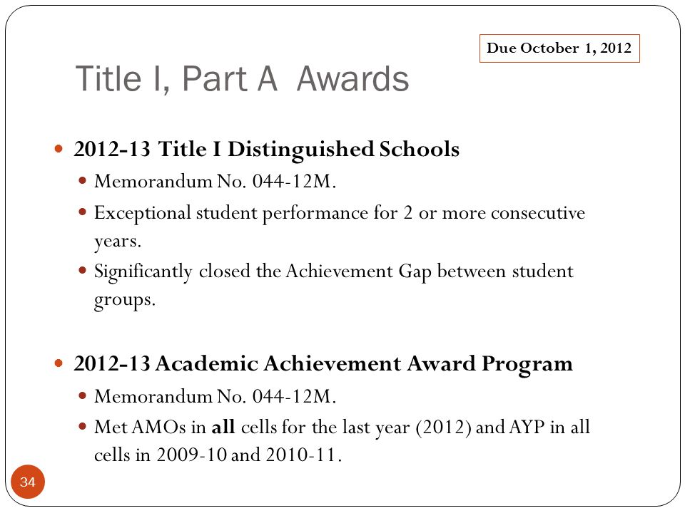 Title I, Part A Awards 2012-13 Title I Distinguished Schools Memorandum No.