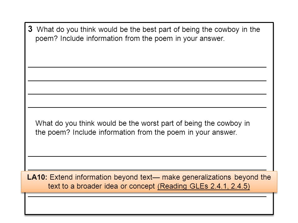 2A 2-point response provides text-based information to identify the best part of being a cowboy and the worst part of being a cowboy.