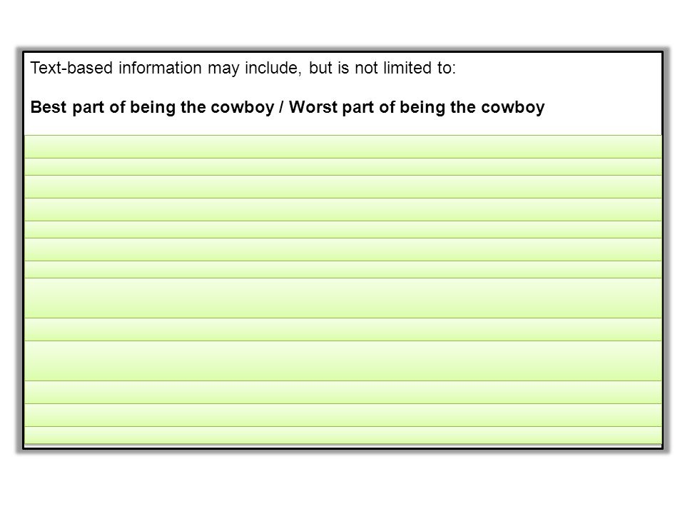 Text-based information may include, but is not limited to: Best part of being the cowboy / Worst part of being the cowboy A.He listens to the cats pur