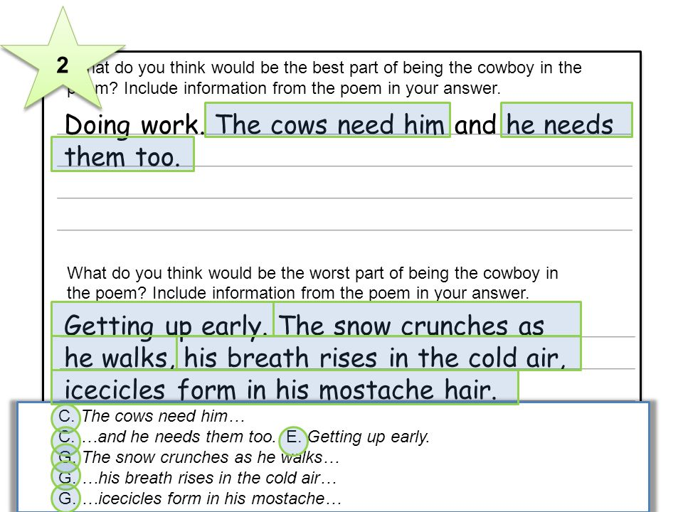 3 What do you think would be the best part of being the cowboy in the poem? Include information from the poem in your answer. What do you think would