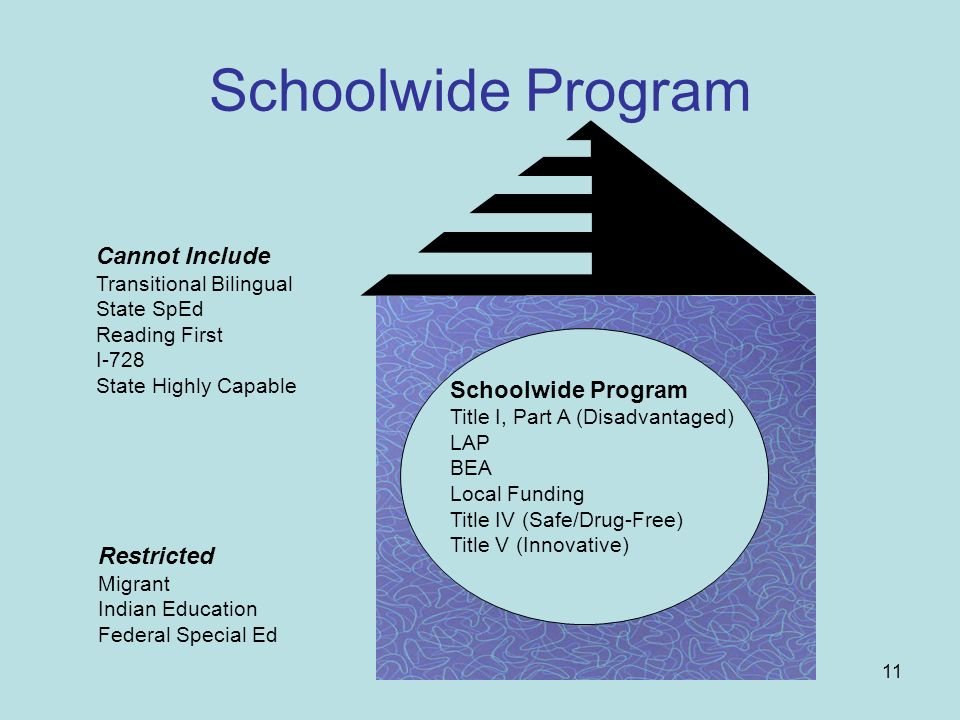 11 Schoolwide Program Title I, Part A (Disadvantaged) LAP BEA Local Funding Title IV (Safe/Drug-Free) Title V (Innovative) Cannot Include Transitional Bilingual State SpEd Reading First I-728 State Highly Capable Restricted Migrant Indian Education Federal Special Ed