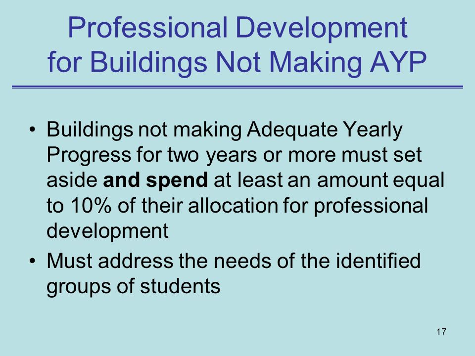 17 Professional Development for Buildings Not Making AYP Buildings not making Adequate Yearly Progress for two years or more must set aside and spend at least an amount equal to 10% of their allocation for professional development Must address the needs of the identified groups of students