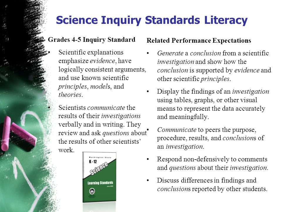Science Inquiry Standards Literacy Grades 4-5 Inquiry Standard Scientific explanations emphasize evidence, have logically consistent arguments, and us