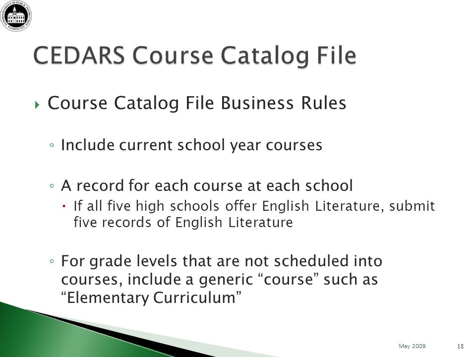 Course Catalog File Business Rules Include current school year courses A record for each course at each school If all five high schools offer English Literature, submit five records of English Literature For grade levels that are not scheduled into courses, include a generic course such as Elementary Curriculum 18 May 2009