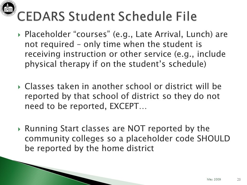 Placeholder courses (e.g., Late Arrival, Lunch) are not required – only time when the student is receiving instruction or other service (e.g., include physical therapy if on the students schedule) Classes taken in another school or district will be reported by that school of district so they do not need to be reported, EXCEPT… Running Start classes are NOT reported by the community colleges so a placeholder code SHOULD be reported by the home district 20 May 2009