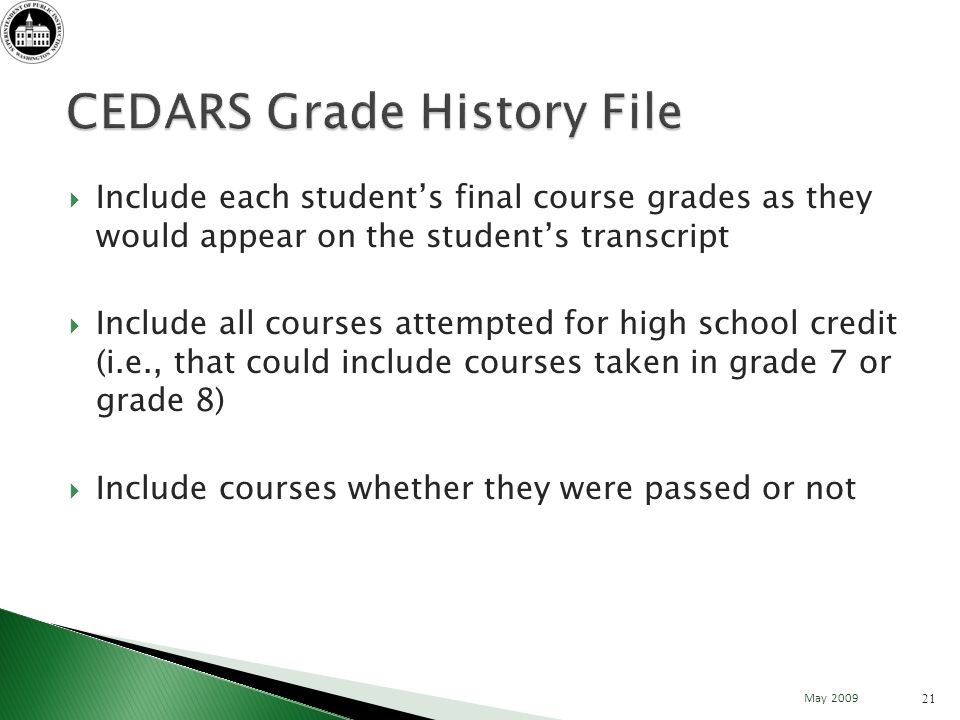 Include each students final course grades as they would appear on the students transcript Include all courses attempted for high school credit (i.e., that could include courses taken in grade 7 or grade 8) Include courses whether they were passed or not 21 May 2009