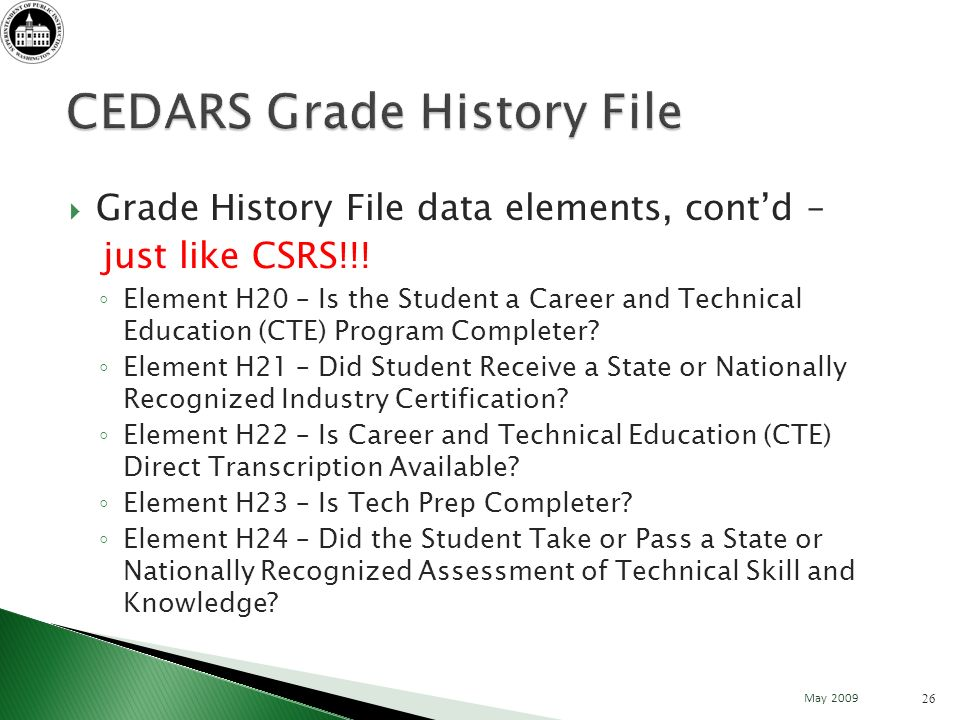 Grade History File data elements, contd – just like CSRS!!.