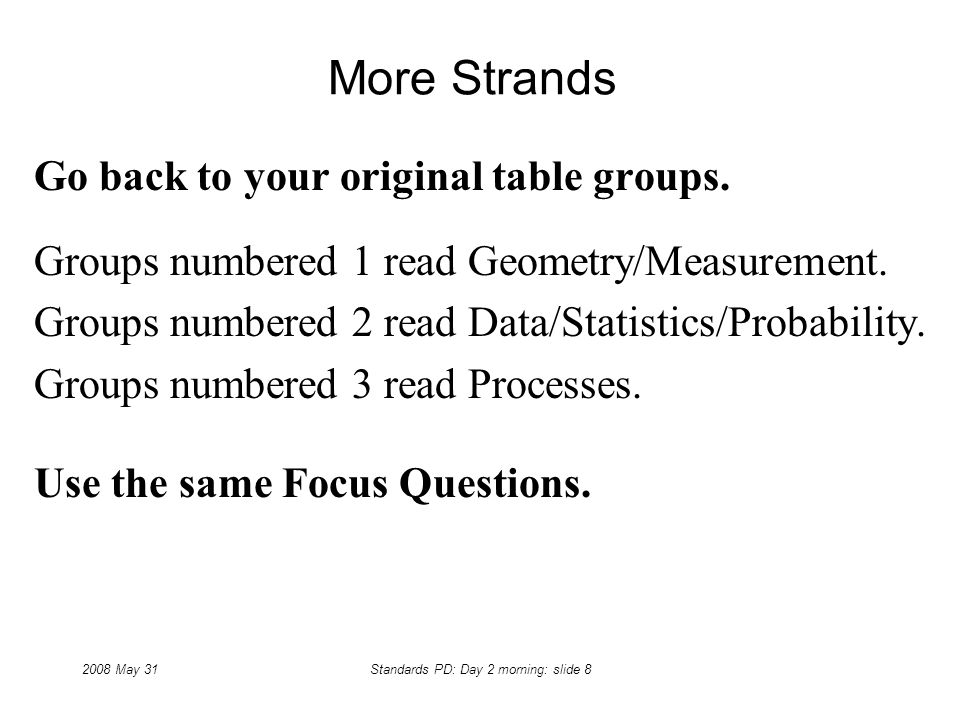 2008 May 31Standards PD: Day 2 morning: slide 8 More Strands Go back to your original table groups.