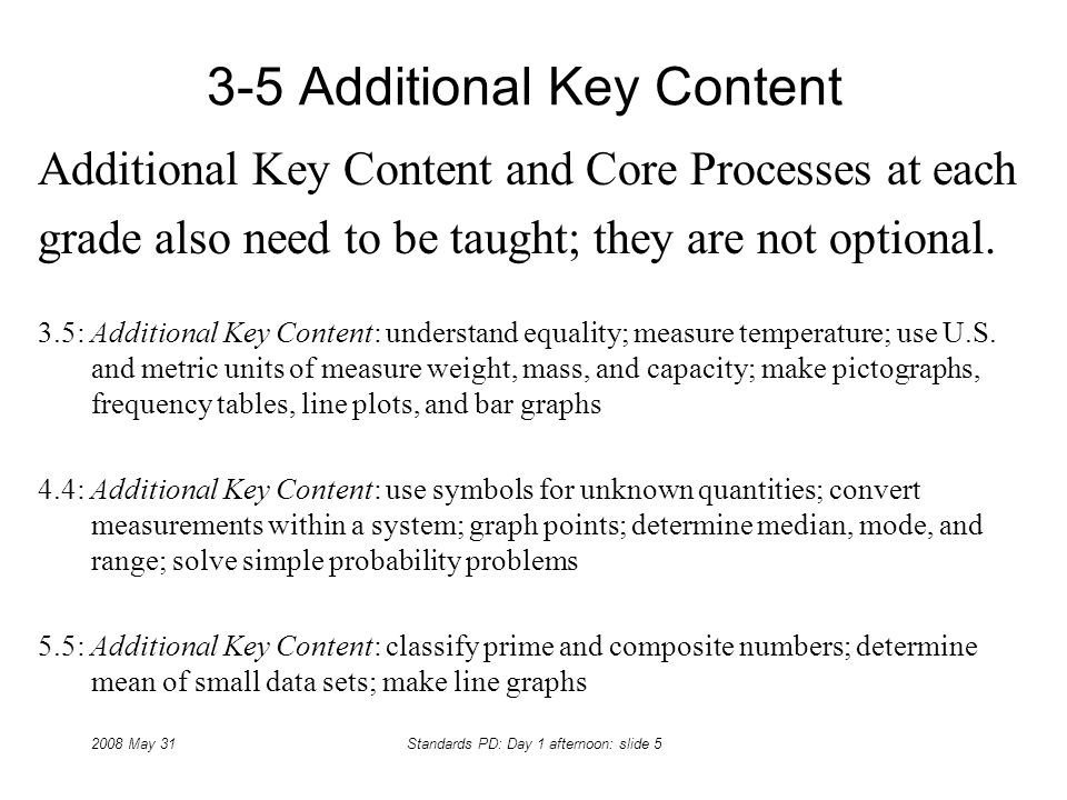 2008 May 31Standards PD: Day 1 afternoon: slide 5 3-5 Additional Key Content Additional Key Content and Core Processes at each grade also need to be t