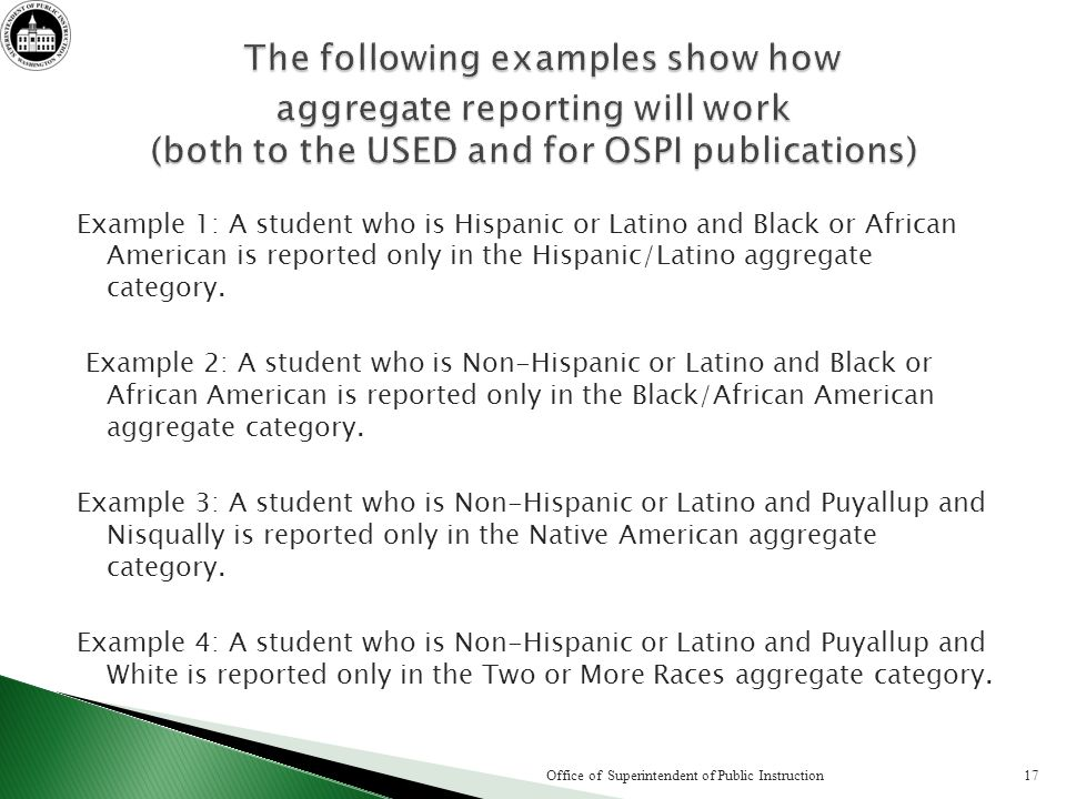 Example 1: A student who is Hispanic or Latino and Black or African American is reported only in the Hispanic/Latino aggregate category. Example 2: A