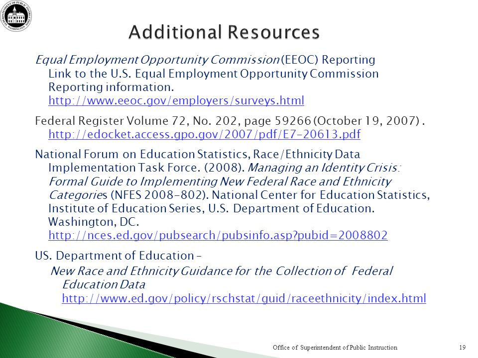 Equal Employment Opportunity Commission (EEOC) Reporting Link to the U.S.