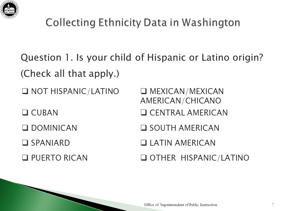 Question 1. Is your child of Hispanic or Latino origin.